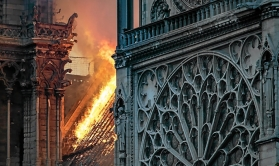 Flames and smoke are seen billowing from the roof at Notre-Dame Cathedral in Paris on April 15, 2019. A huge fire swept through the roof of the famed Notre-Dame Cathedral in central Paris on April 15, 2019, sending flames and huge clouds of grey smoke billowing into the sky. The flames and smoke plumed from the spire and roof of the gothic cathedral, visited by millions of people a year. A spokesman for the cathedral told AFP that the wooden structure supporting the roof was being gutted by the blaze. / AFP / THOMAS SAMSON