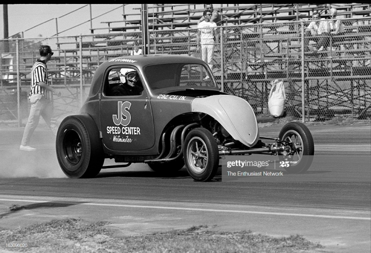 UNITED STATES - OCTOBER 12: 1964 Lion's Drag Strip - Wilmington. Lee La Barron drives the Fiat Topolino Altered sponsored by JS Speed Center in Westminster, California. (Photo by Pat Brollier/The Enthusiast Network via Getty Images/Getty Images)